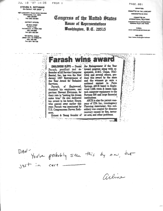 Farash Wins Award Congress